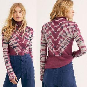 Free People Tops - Free People Turtleneck Tie Dye Knit Top Thumbholes